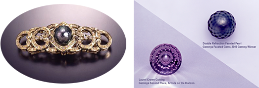 HANASHINJU of black south sea pearl . HANASHINJU , K18 Brooch for Japanese Kimono (left), Gem cutting contest in US  <Gemmys> awarded work · Double refraction cutting (right)